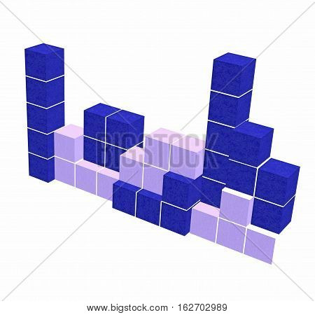 puzzle video game - geometric blue 3D shapes - think creative game