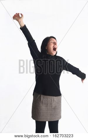 Woman yawning on a white background color