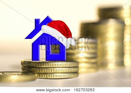Real estate symbol in the background of bars coins . Christmas sale real estate
