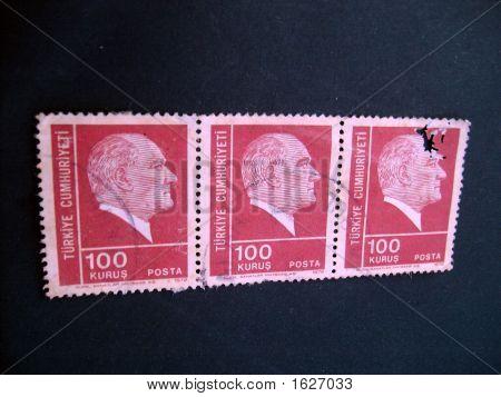 Old Postal stamps from Turkiye Cumhuriyeti worth 100 Kurus. poster