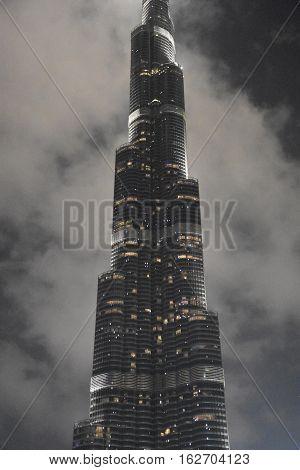 DUBAI, UAE - DEC 9: Burj Khalifa in Dubai, UAE, as seen on Dec 9, 2016. It is the tallest structure in the world, standing at 2,722 ft.