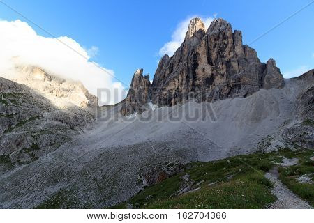 Sexten Dolomites Mountain Zwolferkofel And Footpath In South Tyrol, Italy