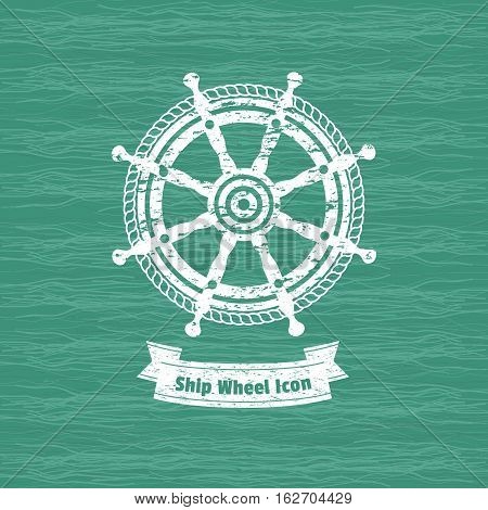 Ship helm icon. Sailboat steering wheel badge. Vintage marine label. Nautical rudder sign emblem. Vector sea navigation element. Sail vessel symbol. Freehand drawn retro style banner grunge background