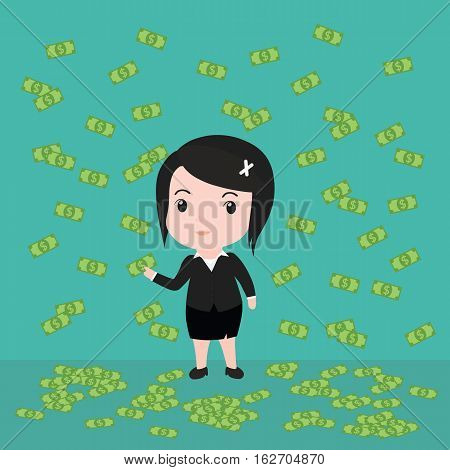 Many Banknotes, Business Woman Have Many Banknotes