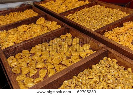 Uncooked Italian Pasta Assortment In Wooden Box