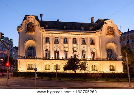 French embassy building at night in the old town is a unesco world heritage site, vienna, austria