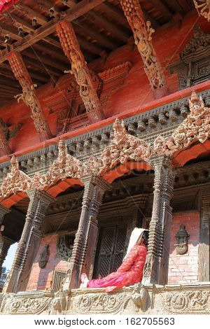 PATAN, NEPAL: Architectural detail of a temple at Durbar Square