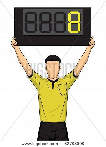 Football referee shows extra time the soccer players change. Vector illustration.