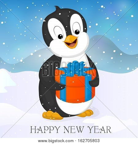Funny and cute penguin with Christmas Present. Merry Christmas and Happy New year greeting card. Christmas card in cartoon style. Vector illustration. New Year Collection.
