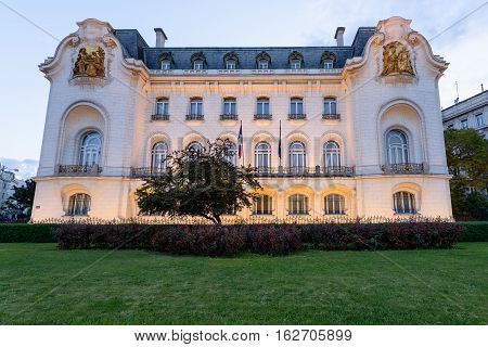 French embassy building at sunset in the old town is a unesco world heritage site, vienna, austria
