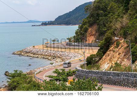 Beautiful Curve Road in Thailand Seaside and near mountain at Kung Wi Marn (Nern Nang Phaya Viewpoint) at Chanthaburi ProvinceThailand.