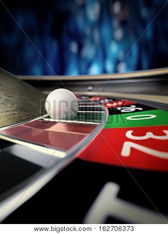roulette wheel close up in online casino - 3D rendering