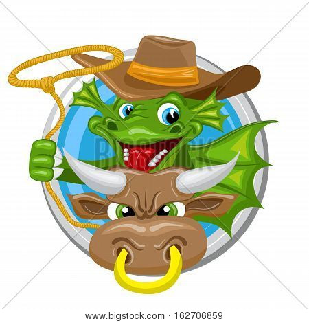 Taurus. Zodiac sign. Horoscope. Green dragon with lasso rides a bull