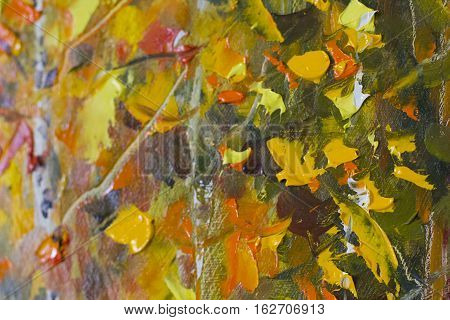 Big texture leaves tree branches Close up fragment Palette knife leaves . Macro artist's leaves tree branches texture mixed oil paints tree branches.