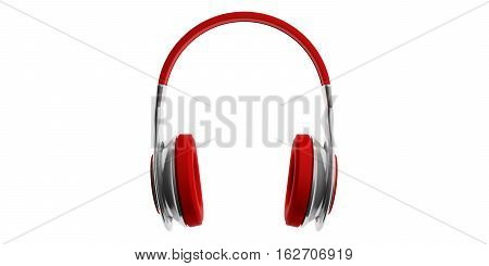 3D Rendering Pair Of Red Wireless Headphones