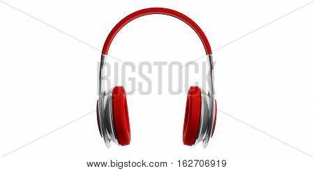 3D Rendering Pair Of Red Wireless Headphones