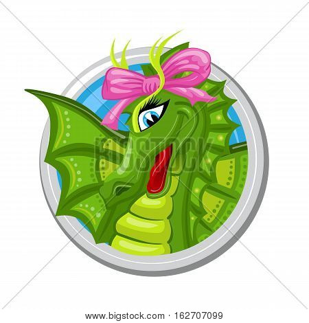 Virgo. Zodiac sign. Horoscope. Dragon girl with pink bow