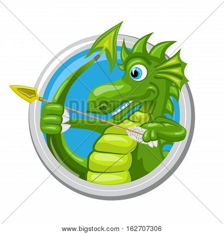 Sagittarius. Zodiac sign. Horoscope. Green dragon i using its tail like a bow and aiming with arrow