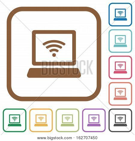 Computer with wireless symbol simple icons in color rounded square frames on white background