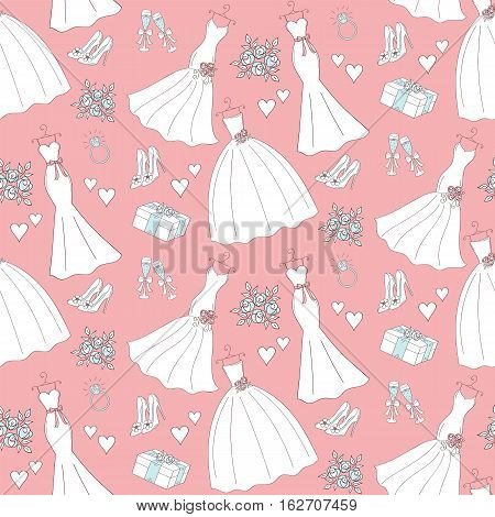 Wedding vector seamless background with hand drawn icons wedding dresses, shoes, roses, engagement ring, champagne cups, hurts, gift box.