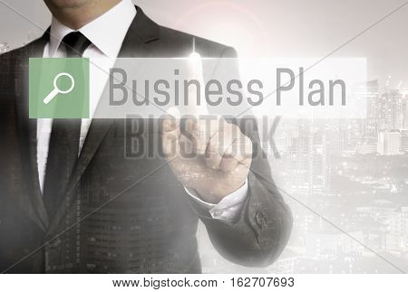 Business Man With City Background Business Plan Browser