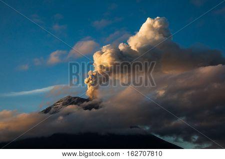 Tungurahua volcano explosion on November 2010 at dawn Ecuador