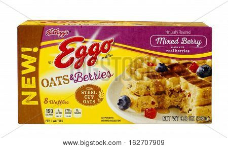 RIVER FALLS,WISCONSIN-DECEMBER 21,2016: A box of Eggo brand Oats and Berries frozen waffles against a white background