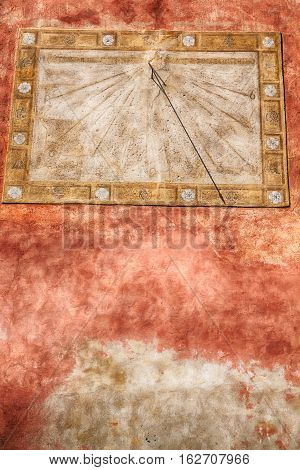 In Italy Sundial And   Antique  Wall
