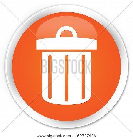 Recycle Bin Icon Premium Orange Round Button