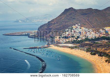 Aerial View On Teresitas Beach Near Santa Cruz,tenerife, Canary Islands, Spain