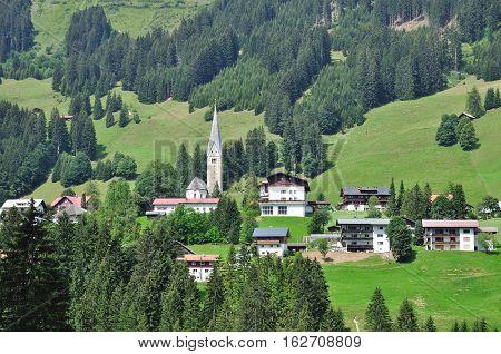 Village of Mittelberg in Kleinwalsertal in Vorarlberg,Alps,Austria