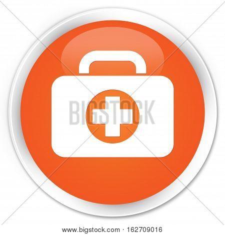 First Aid Kit Bag Icon Premium Orange Round Button