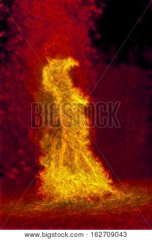 This series began life as photographs of a bonfire. After much work I achieved the look I wanted: The flames were more intense more dancing more ... alive. I then tweaked the images to create faces in the flamess. These images remind me of the story of Sh