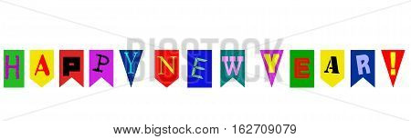 Banner or pennant and text Happy New Year, isolated on white
