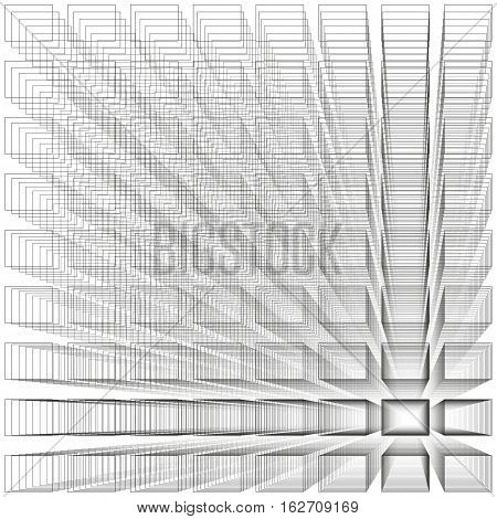 White color abstract infinity background, 3d structure with gray rectangles forming illusion of depth and perspective, vector illustration