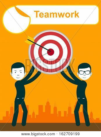 Business people holding target with arrow, vector illustration. Teamwork . Arrow hitting the center of target - flat success business concept