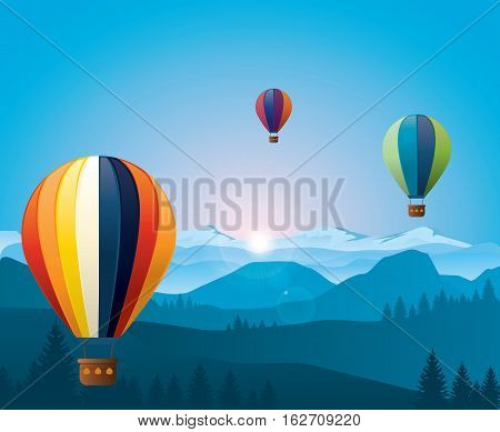 Colorful hot air baloons flying over mountains. Vector illustration. Eps 10