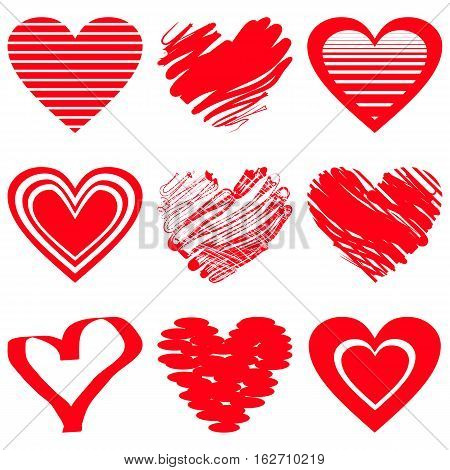 Red heart icons. Vector illustration for happy valentines day holiday design. Romantic shape heart symbol. Love sign graphics. Hand drawning element. Sketch doodle hearts isolated on white background