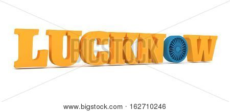 Image relative to India travel industry. Lucknow city name with flag colors styled letter O. 3D rendering.