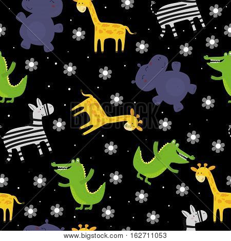 Cute hand drawn funny animals. Seamless pattern