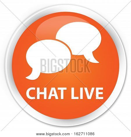 Chat Live Premium Orange Round Button