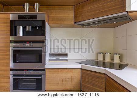 Modern Kitchenette With Wooden Furniture