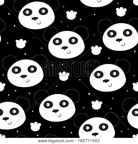 Cute hand drawn funny panda head pattern