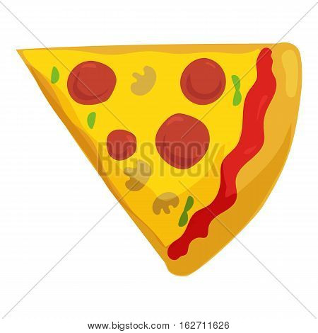 Fast food pizza slice icon. Vector illustration for restaurant pizzeria menu design. Italian cheese cartoon pizza. Delivery toppings isolated on white background.