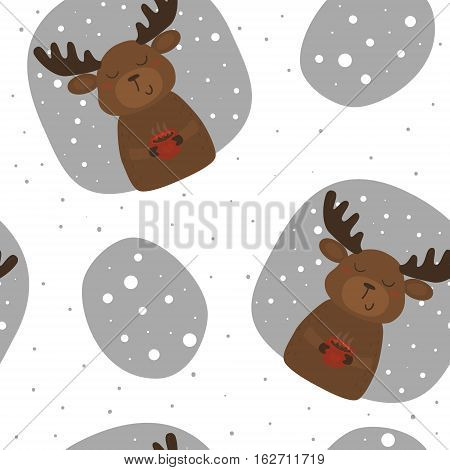 Vector pattern with deer and cup. Printable templates