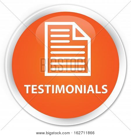 Testimonials (page Icon) Premium Orange Round Button
