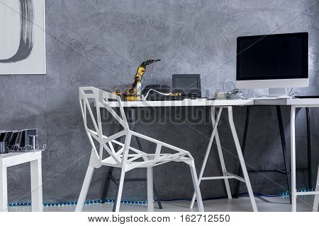 Contemporary Home Office With Big Desk