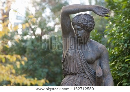 amazon bronze statue in athens greece, close up