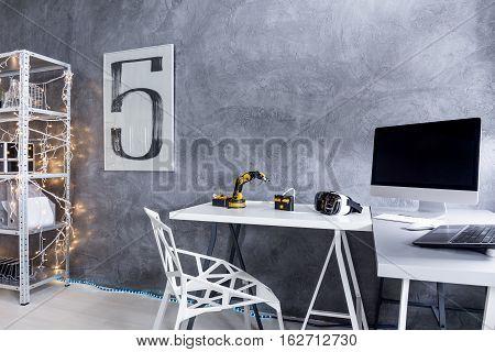 Modern Grey Study Area With A Big Desk