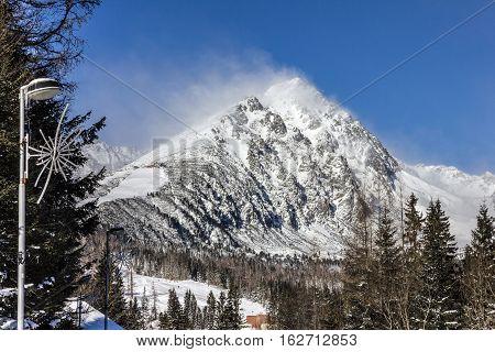 winter mountain day landscape Tatry, Slovakia, Europe